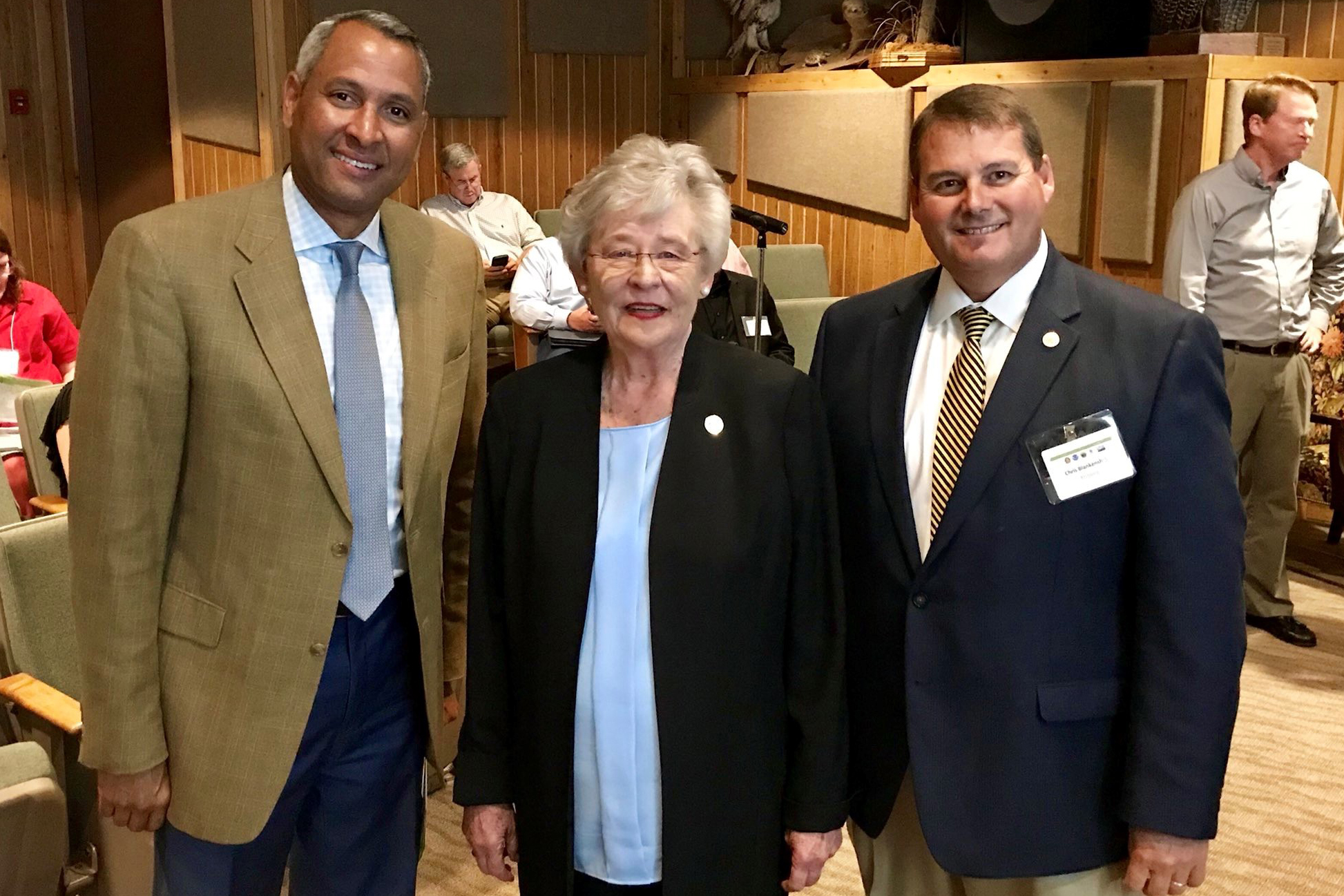 Alabama Governor Kay Ivey, Alabama Commissioner of Conservation Chris Blankenship (right), and meeting facilitator Perry Franklin (left).