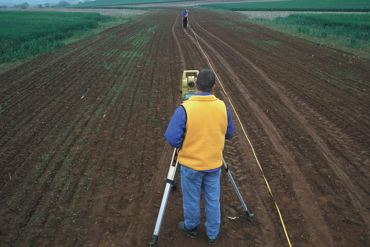 Surveying an agricultural field.