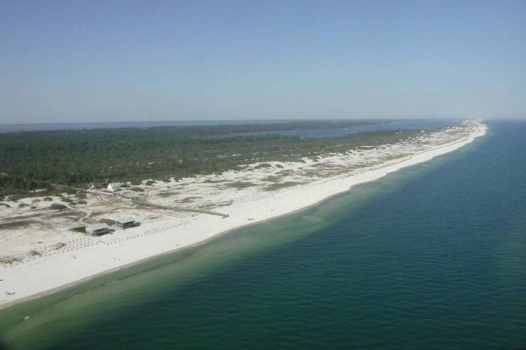 Aerial view of the Gulf coastline at Bon Secour National Wildlife Refuge.