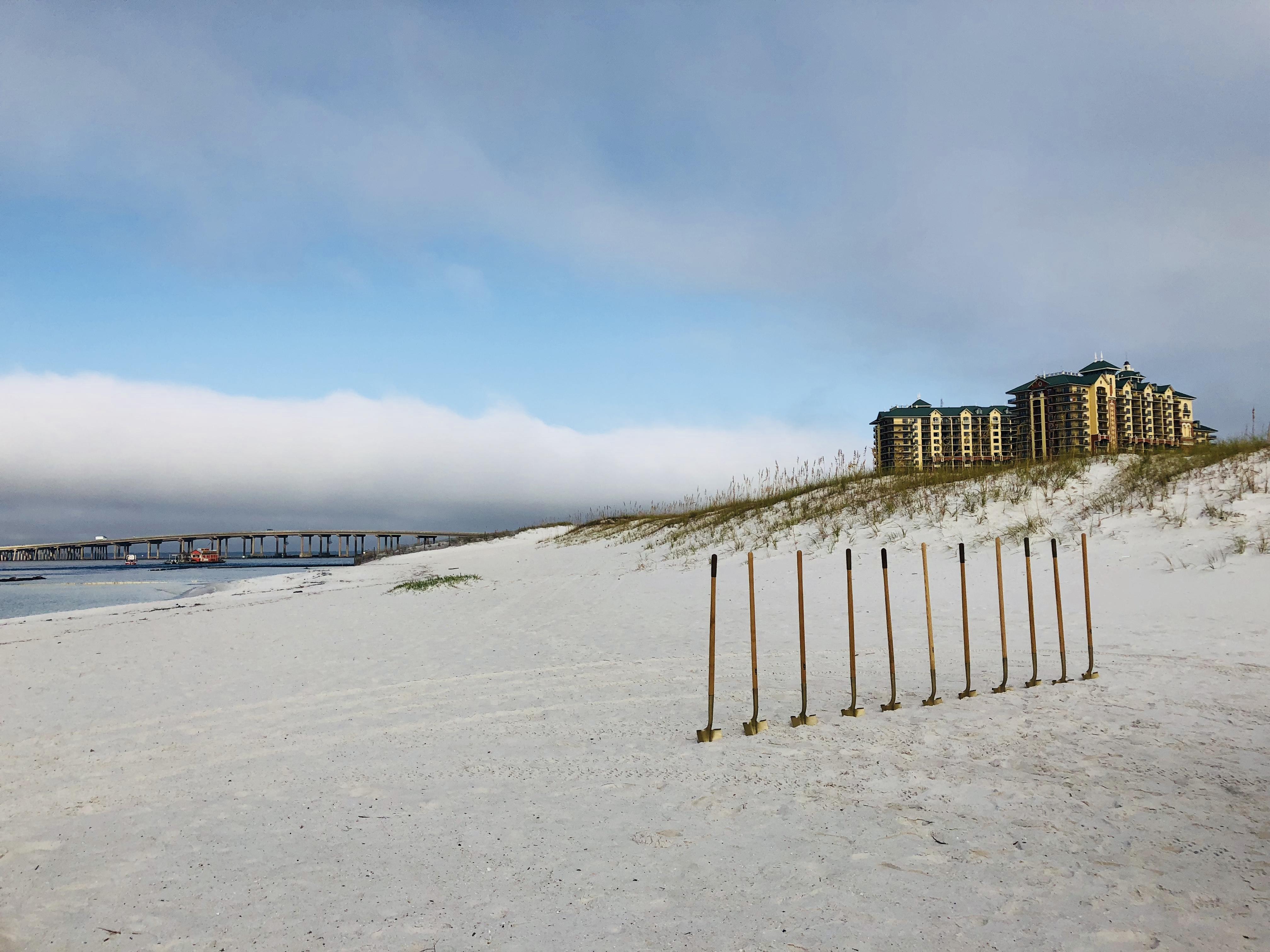 shovels on a beach