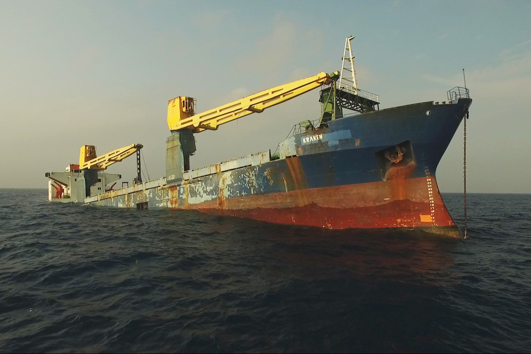 The vessel Kraken sinking into the gulf to create a new artificial reef for fish habitat.