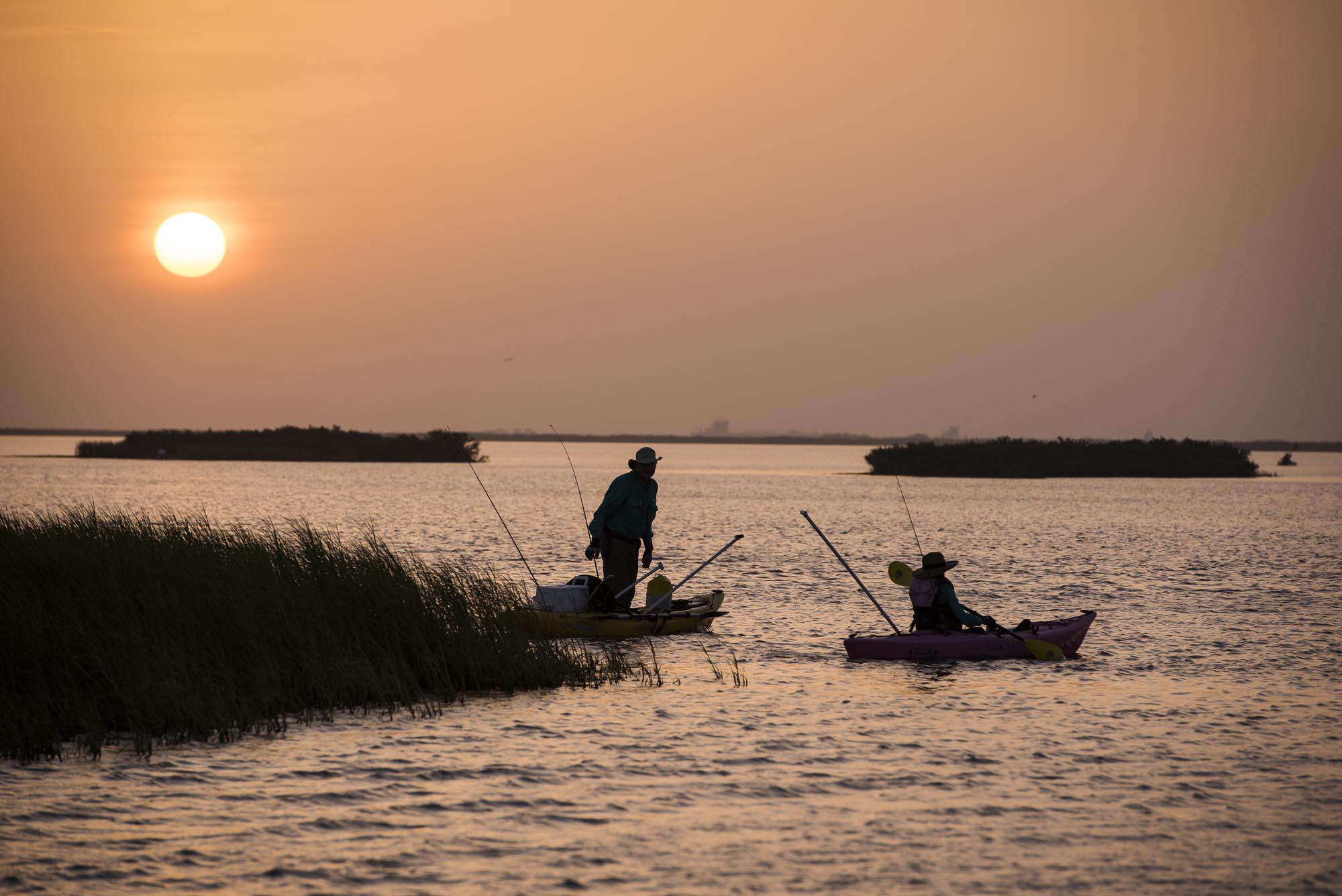 Anglers fishing on kayaks in Texas, near Port Aransas. Copyright Texas Parks and Wildlife