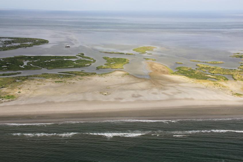 Aerial view of a Louisiana barrier island.