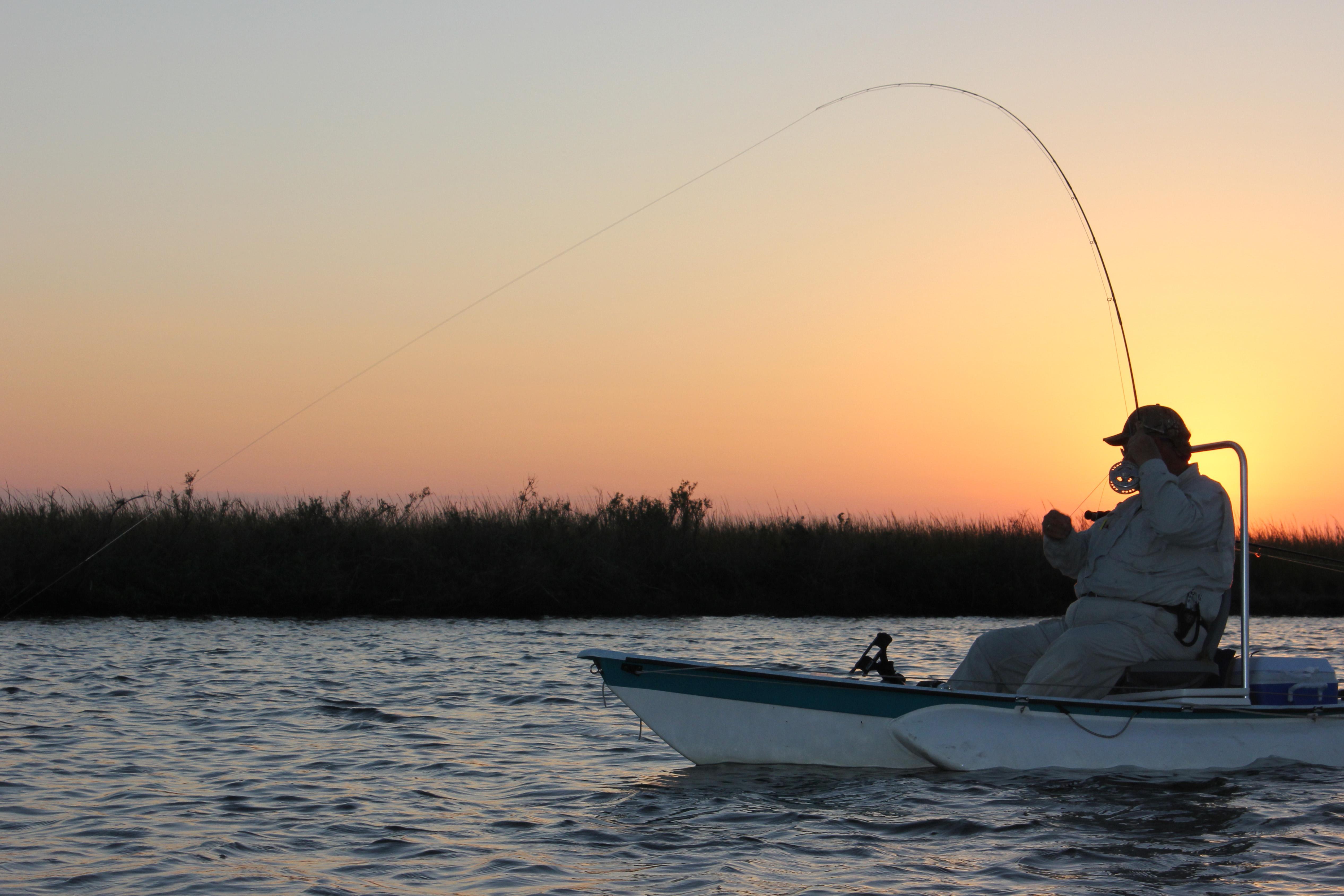 man fishing on Louisiana coast
