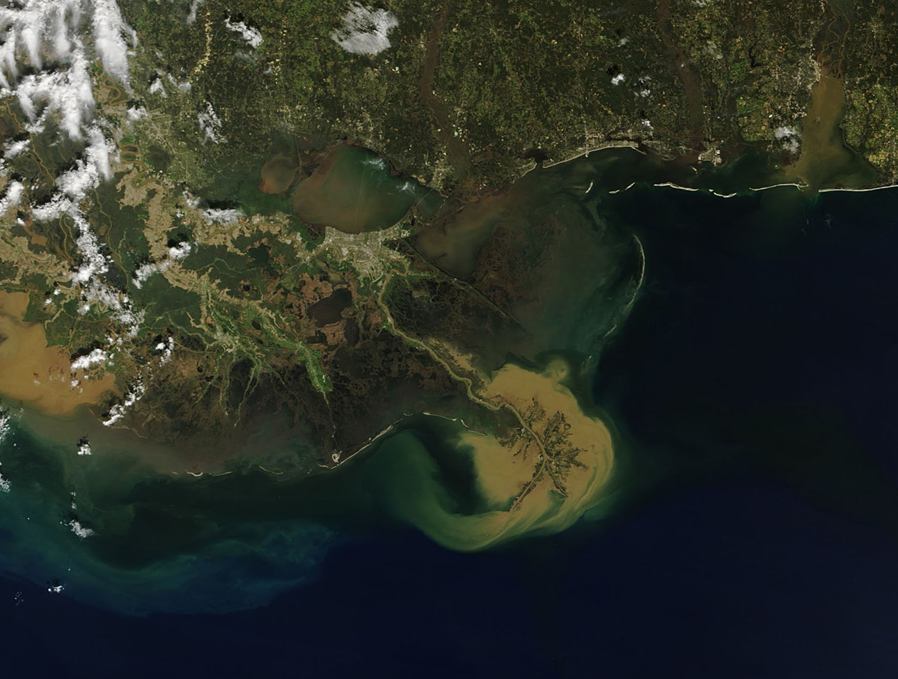 Satellite image shows sediment pouring out of the Mississippi River and into the Gulf after large storms and flooding in the central U.S. Credit: NASA
