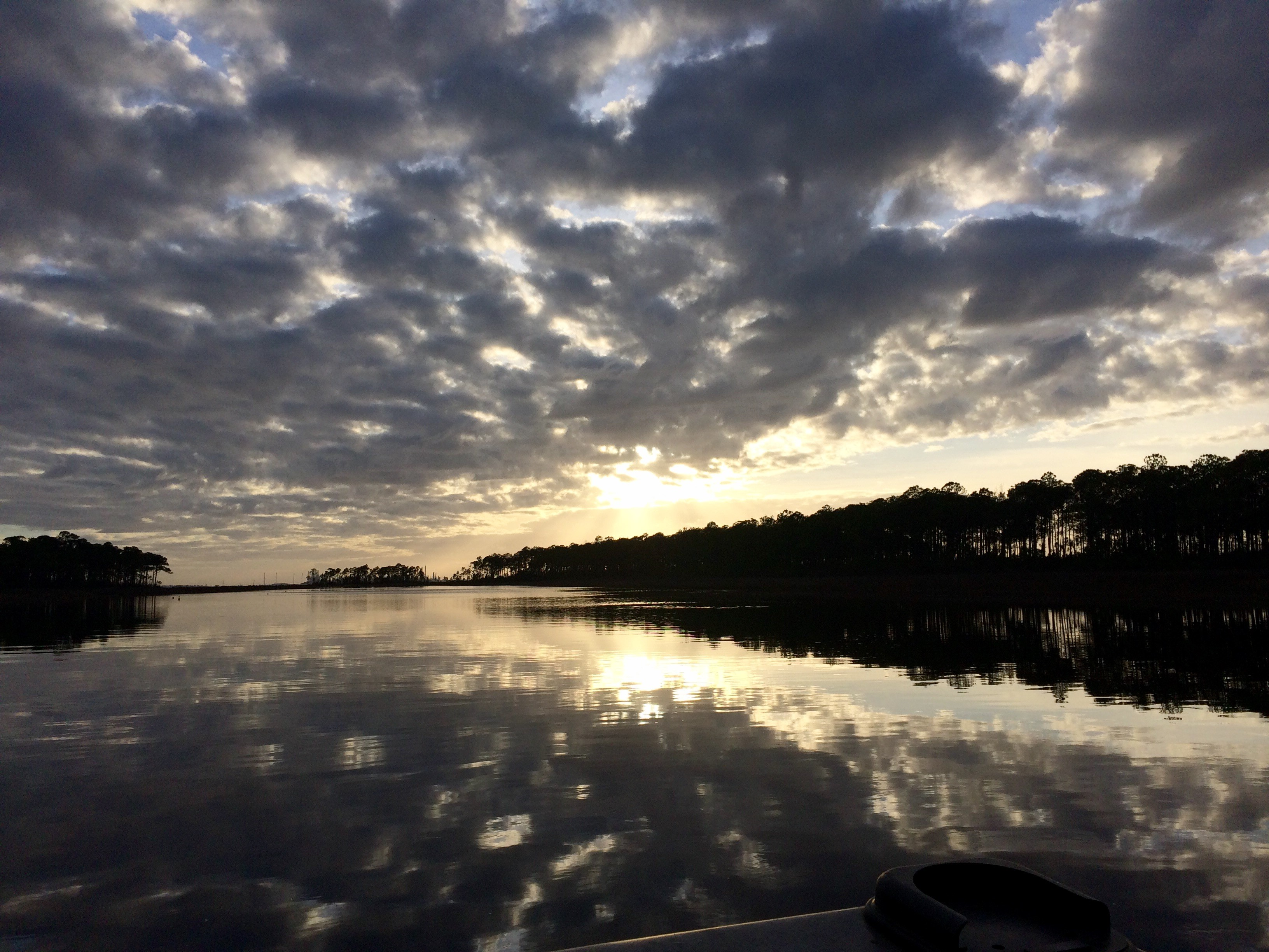 The sun is rising in Grand Bay National Estuarine Research Reserve.