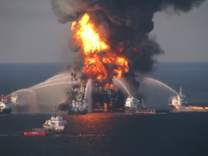 the Deepwater Horizon rig on fire